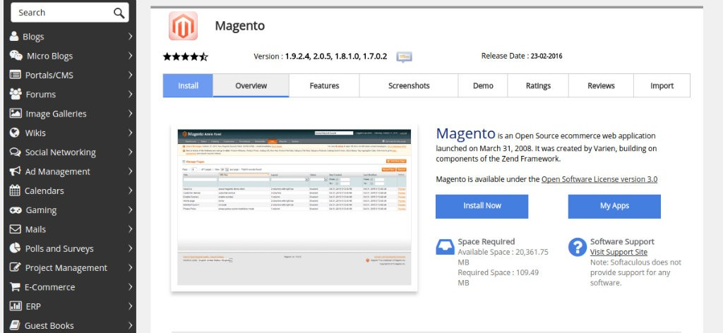 Magento Initial Application Installation