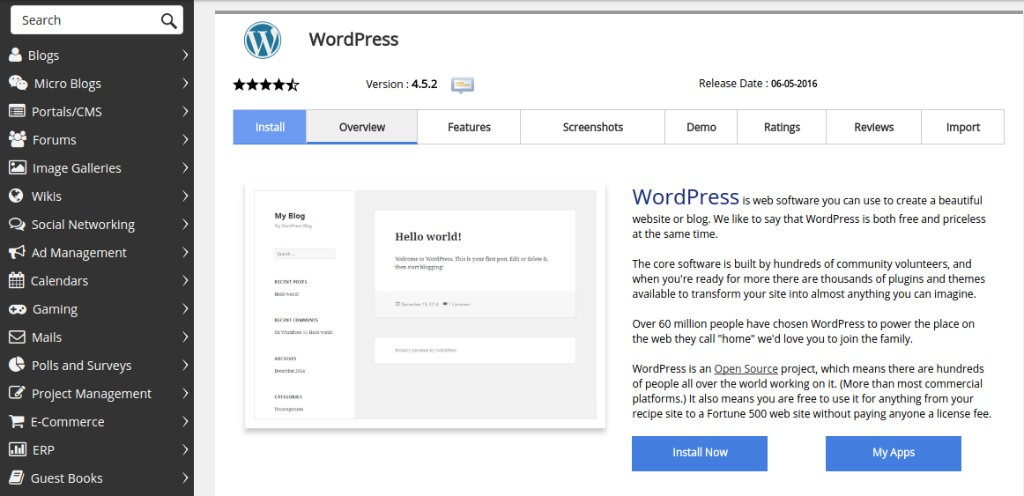 WordPress Initial Installation